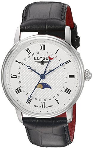 ELYSEE Made in Germany Monumentum Moon 77002L 41mm Stainless Steel Case Black Calfskin Synthetic Sapphire Men's Watch