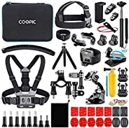 COOPIC Action Camera Accessories Kit 58-In-1 Compatible with Gopro MAX GoPro Hero 8 7 6 5 4 3+ 3 2 1 Black SJ4