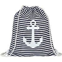 894e6c8c8bdf9 heimtexland Turnbeutel Maritim gestreift mit Anker navy weiß Gymbag Canvas  Sport Rucksack Matchbeutel Stripes Strand Tasche