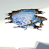 3D wall Sticker Pegatinas agujero de pared Blue Sky Shuttle techo techo dormitorio decoraciones de pared,125*60cm.