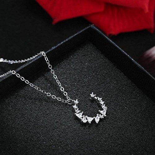 Liudaye S925 Sterling Silber Halskette Diamant Halbmond Anhänger Weibliche Geschenk (Diamant-halbmond Halskette)