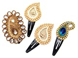 #10: Ethnic Paisley Hair Clip Gift Set of 4 Antique Gold White | Latest Design Hair Accessories