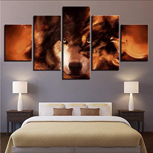 xzfddn Modulare Leinwand Bilder Wandkunstausgangsdekor 5 Stücke Tiere Wolf Abstrakte Gemälde Für Wohnzimmer HD Druckt Poster