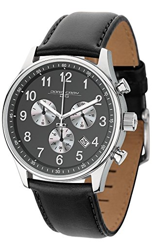 Jorg Gray Men's Quartz Watch with Grey Dial Chronograph Display and Black Leather Strap JG5500-23