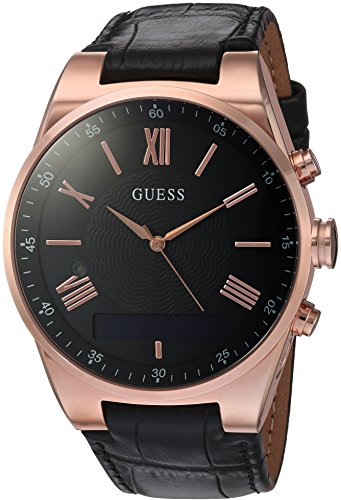 Guess-Connect-C0002MB3-Mens-Black-Leather-Strap-Smart-Watch
