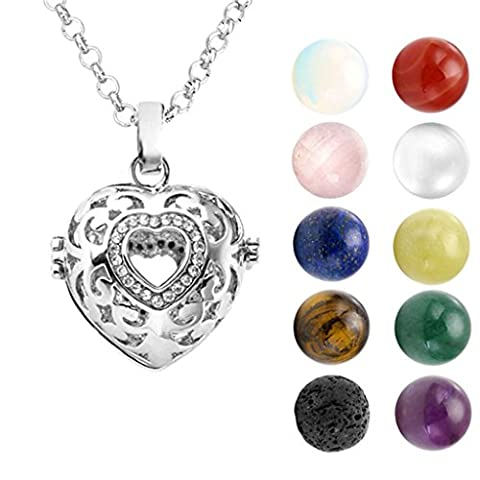 JOVIVI Mixed Natural Gemstones Aromatherapy Heart Pendant/Locket Essential Oil Diffuser Necklace