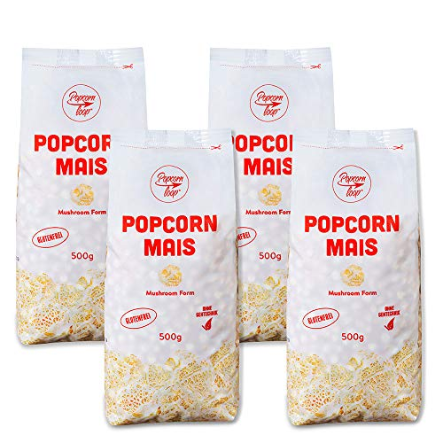 Popcorn Mais Mushroom 4 x 500g für Popcornmaschine Popcornloop Beste Qualität Ohne Gentechnik Vegan Glutenfrei