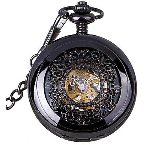 Retrò uomo scava fuori il marchio meccanico orologio da tasca orologi nuova mano meccanica del vento ( Colore : Nero , Taglia : Taglia unica )