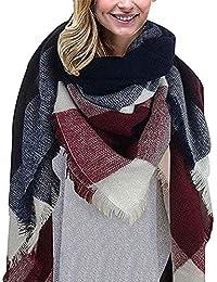 Bufanda Manta de Invierno Para Mujer Tartán Pashmina Larga Bufanda Triángulo de Cuadros Escoceses de Cachemira para Mujer