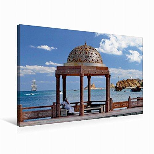 Premium Textil-Leinwand 75 cm x 50 cm quer Goldener Pavillon auf der Corniche in Muttrah, Muscat, Sultanat Oman   Wandbild, Bild auf Keilrahmen, Fertigbild auf echter Leinwand, Leinwanddruck