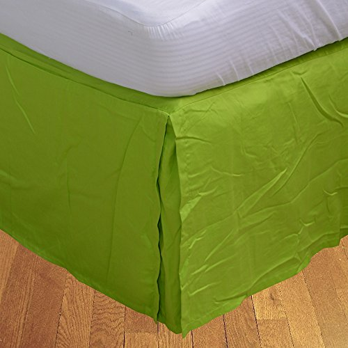300TC 100% cotone egiziano, finitura elegante scatola salva Bedskirt, pieghettato, a forma di goccia, lunghezza: (24) 60,96 cm), Cotone, Bianco massiccio, Matrimoniale uk king Parrot Green Solid