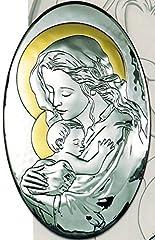 Idea Regalo - ICONA RELIGIOSA OVALE MADONNA CON BAMBINO CM 34X55 SU LEGNO LAMINATA ARGENTO MADE IN ITALY