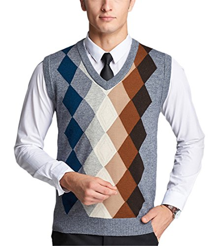 Blansdi Herren Jugendlich Jungen lässig Klassische Herbst Winter V-Ausschnitt Ärmellos Gitter Knit Stricken strickweste Wollweste janker Trachtenweste Weste Cardigan Regular Fit