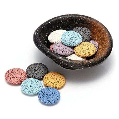 JSDDE Schmuck, Lavastein mit Retro Keramik Tablett Ätherisches Öl Parfüm Diffusor Lavastein für Hause Wohn-, Schlaf-, oder Badezimmer Dekoration(Tablett-#2 mit Runde Lavasteine)