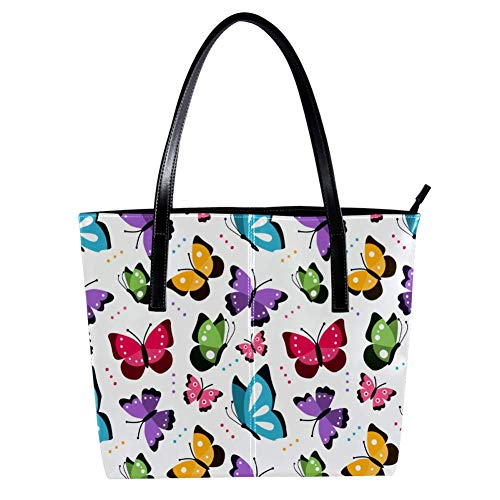 Women's Bag Shoulder Tote handbag with Colorful Pattern With Flat Butterflies Flying print Zipper Purse PU Leather Top-handle Zip Bags -