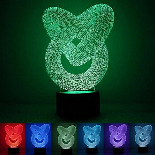WAOBE Kreative Lampe abstrakte LED Acryl Vision Stereo 3d Lampe USB Touch (Für Geist Gelten Halloween)