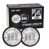 Sunpie 2x Motorrad 4.5 Zoll LED Nebelscheinwerfer Zusatzscheinwerfer tagfahrlicht Rund wasserdicht Fahren lampe f¨¹r Harley Davidson Touring Silber