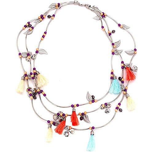 Dame einfach Mehrschichtig Mehrfarbig Quaste Baumblätter Choker Halskette Mode Kostüm - Fox Tails Kostüm