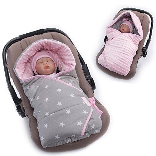 Sevira Kids–Manta envolvente en tela minky–Reversible–Universal y multiusos, para silla de cochecito rosa Etoiles Rose Talla:0 - 6 meses