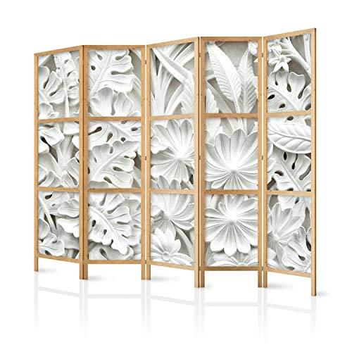 murando - Paravent XXL Blätter 3D Effekt 225x171 cm - 5-teilig - einseitig - eleganter Sichtschutz - Raumteiler - Trennwand - Raumtrenner - Holz - Design Motiv - Deko - Japan f-B-0265-z-c