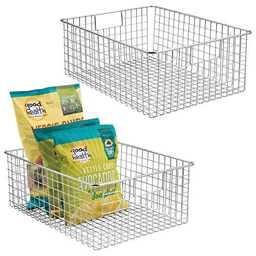 mDesign 2er-set Allzweckkorb aus Metalldraht - flexibler Aufbewahrungskorb für die Küche, Vorratskammer etc. -großer und universeller Drahtkorb mit Griffen - silberfarben -