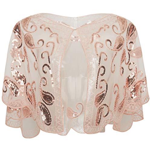 ArtiDeco 1920er Jahre Retro Schal Umschlagtücher für Abendkleider Stola für Hochzeit Party Gatsby Kostüm Accessoires (Pink) -