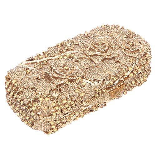 Bonjanvye Glitter Floral Clutch Purse for Girls Crystal Rhinestone Handbag AB Gold Smoky yellow
