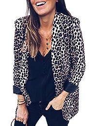 SODIAL Moda De Mujer Chaqueta De Estampado De Leopardo CáRdigan Se?ora Casual  Traje Delgado Delantero Abierto Chaqueta Abrigo… 8928274af82a