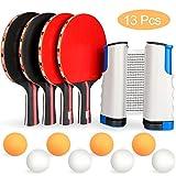 Xddias Set da Ping Pong, Istantanee Racchette da Ping Pong Racket, 4 Racchetta/Pagaia + 8 Palline/Sfere + 1 Regolabile Rete per attività All'aperto al Coperto - Adatto a Qualsiasi Tavolo