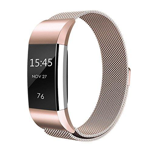 Fitbit Charge 2 Armband,Milanese Schlaufe Edelstahl Armband Smart Watch Armbänder Replacement Handgelenk Band Wrist Strap Watchband Fitness Armband mit einzigartiger Magnetverriegelung für Fitbit Charge 2/ Fitbit HR Ersatzarmbänder,Rose Gold