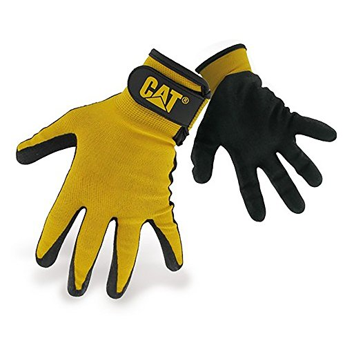 Caterpillar 17416 Herren Nylon-Handschuhe mit Nitrilbeschichtung (Large) (Schwarz)