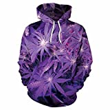 WHLWY La Felpa Viola con Cappuccio Stampati 3D Maglione E Foglia di Marijuana Digitale Mappa di Colori M Felpa con Cappuccio