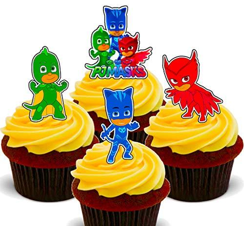 Essbare Cupcake-Topper von PJ Masks, stehende Dekoration für Kuchen und Waffeln, 24er-Pack (Pj Mädchen Größe 6)