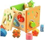 Itian Jeu cubes en bois - Forme Bois Forme Sorter Preschool jouet éducatif couleur...