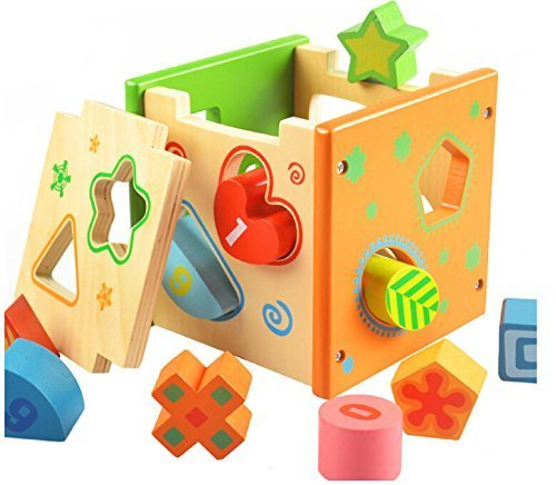 DMZK Cubo de Madera con Formas, Cubo para clasificar Formas Caja Actividades Madera para bebés niños
