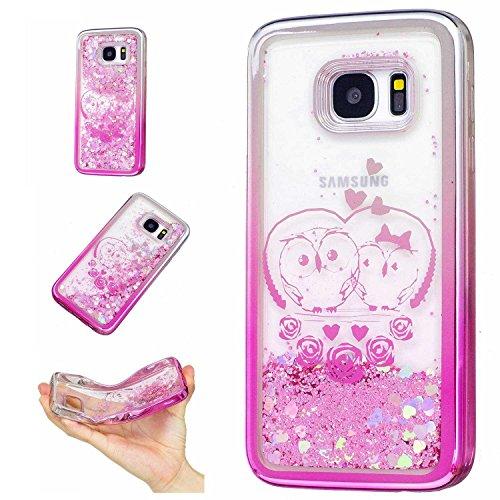 Für Samsung Galaxy S7 Edge , YINPIN Hohe Qualität TPU Schutzhülle Bunt Glänzend Liquid Glitzernd Sand Stern Schutzhülle Case Cover Geprägt Eule