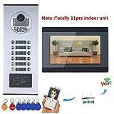 XC Sonnette vidéo Domestique/visioconférence Filaire de 7 Pouces WiFi, système d'interphone caméra étanche, caméra HD 1000TVL avec 12 Boutons / 11 écrans