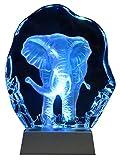 Kaltner Präsente Geschenkidee - Aufsteller Figur Skulptur Ornament aus Glas Motiv ELEFANT mit LED Beleuchtung