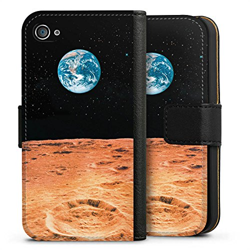 Apple iPhone X Silikon Hülle Case Schutzhülle Erde Mond Moon View Sideflip Tasche schwarz