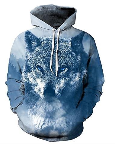 Ecohaso Herren Damen 3D Druck Sweatshirts Weihnachten Pullover mit Aufdruck Herbst Hemd Kapuzenpullover Langarm Top Jumper Shirt (S/M, Wolf (M Und S Christmas Jumper)