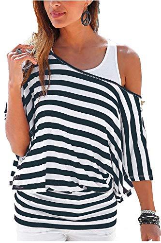 Uniquestyle Damen Gestreiftes T-Shirt Sommer Kurzarm Oberteile 2 in 1 Strandshirt (Blau, L)