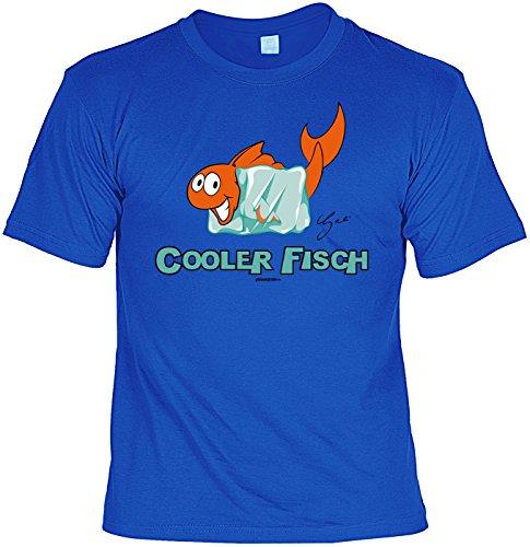 Fun T-Shirt mit witzigem Motiv: Cooler Fisch, Fisch mit Eiswürfel - Geschenk - by Gali - Farbe royalblau