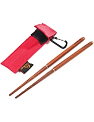 Leetop Foldable Travel Camping Chopsticks Backpacking Red Sandalwood Folding Chopsticks with Portable Case Pouch