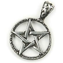Pentagrama Cinco Estrella Cadena Colgante De Plata 9252cm de diámetro joyas druden Soporte Bruja Estrella