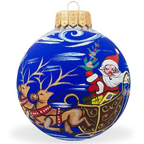 8,3cm Santa riding slitta con renna in vetro palla di Natale ornamento