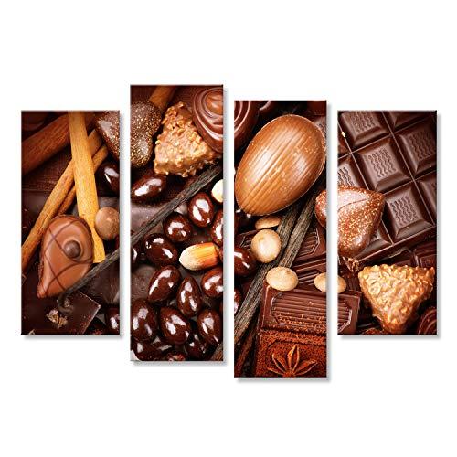Bild Bilder auf Leinwand Sortiment von feiner Schokolade. Weiß, dunkel, Milchschokolade hautnah. Praline Schokoladenbonbons mit Nüssen und Zimt. Süßes Essen Konzept Wandbild, Poster, Leinwandbild KRZ (Schokolade Nüssen Mit Dunkle)