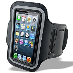 King of Flash Premium Quality iPhone 5 5G Touch 5 5G Soft Armband Case Cover with Key Pocket. Ideal for Gym, Cycling, Jogging & Other Sports Activities (Black)