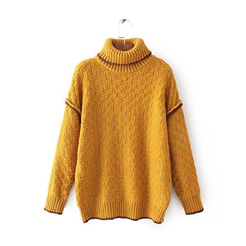 HUA&X Regroupement de femmes Top pull à col haut chandail tricoté de cavalier yellow