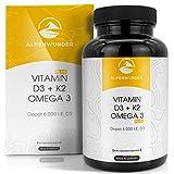 Alpenwunder Vitamin D3 und K2 + Omega 3 Fischöl Kapseln hochdosiert, 100% MADE IN GERMANY, 180 hochwertige Vitamin D3+K2 und Omega 3 Fischölkapseln, hergestellt gemäß...