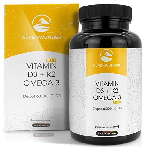Alpenwunder Vitamin D3 und K2 + Omega 3 Fischöl Kapseln hochdosiert, 100{118f5258dfa7f7b2c7206bb0162a056046ff80eda2d8f45c414191cffa0be626} MADE IN GERMANY, 180 hochwertige Vitamin D3+K2 und Omega 3 Fischölkapseln, hergestellt gemäß DIN EN ISO 9001